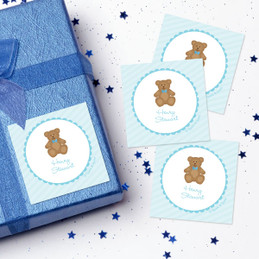 Cute Blue Teddy Bear Gift Label Set