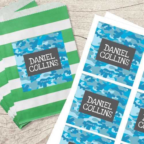 Blue Camouflage Gift Label Set