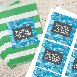 Blue Camouflage Gift Label Set