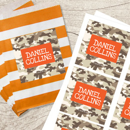 Brown Camouflage Gift Label Set