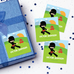 Brave Ninja Boy Gift Label Set
