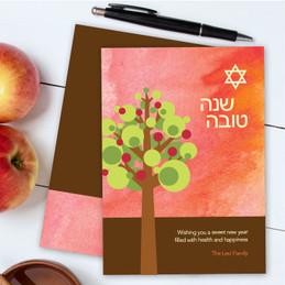 Rosh Hashanah Cards Personalized | Modern Apple Tree
