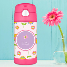 Pink Flowers Pattern Thermos Bottle