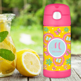 Yellow flowers Pattern Thermos Bottle