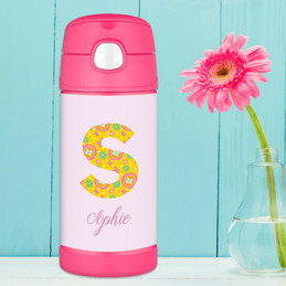 Flower Initial Thermos Bottle