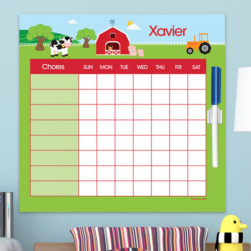 A Day In The Farm Editable Chore Chart