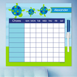 Swimming Blue Turtle Childrens Chore Chart