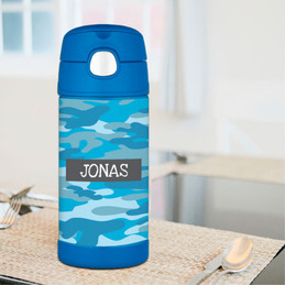 Blue Camouflage Thermos Bottle