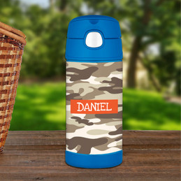 Brown Camouflage Thermos Bottle