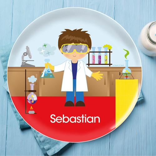 Cool Scientist Boy Kids Plate