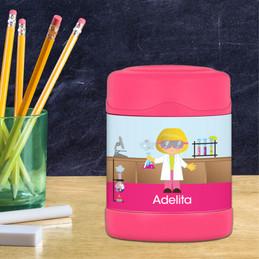 Cute Scientist Girl Thermos Food Jar
