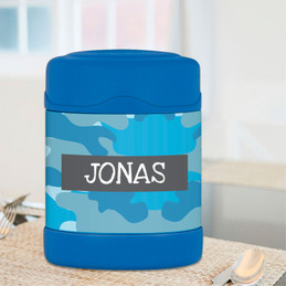 Blue Camouflage Thermos Food Jar