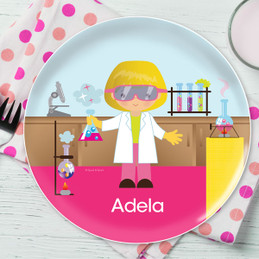 Cute Scientist Girl Kids Plates