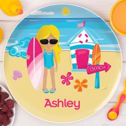 Beach Girl Kids Plates