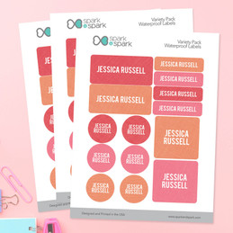 Linen Girl Shades - Pink Waterproof Labels Variety Pack