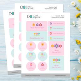 Sweet Little Blooms Waterproof Labels Variety Pack