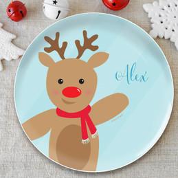 Sweet Reindeer Blue Kids Plate