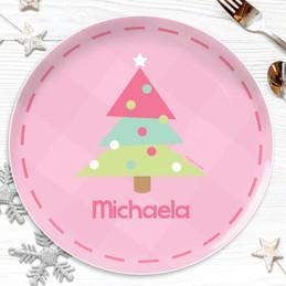Modern Xmas Tree Pink Kids Plate