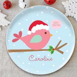 Cute Xmas Birdie Kids Plate