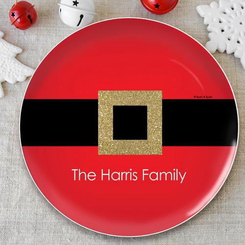 Shiny Santa's Belt Buckle Christmas Plate