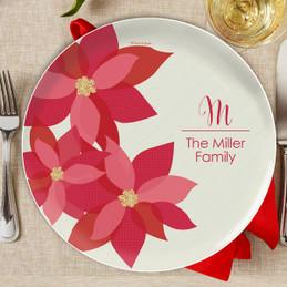 Shiny Poinsettias Christmas Plate