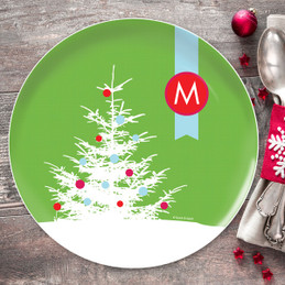 A Snowy Xmas Tree Christmas Plate