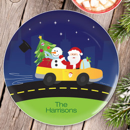 Santa In His Cool Ride Christmas Plate