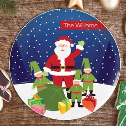 Santa And Elfs Christmas Plate