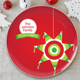 The Pinata Tradition Personalized Christmas plate