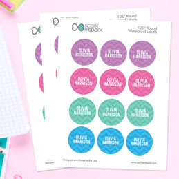 Girls Name on Chevron - Pink Waterproof Labels for Kids (Set of 48)