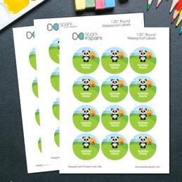 Sweet Panda Waterproof Labels for Kids (Set of 48)