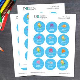 Sweet Mermaid Waterproof Round Labels for Kids
