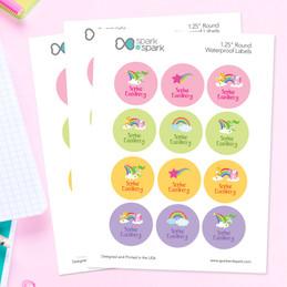 Sweet Unicorns Waterproof Labels for Kids