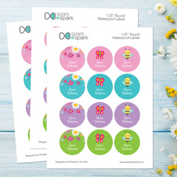 Spring Flowers Waterproof Labels for Kids (Set of 48)