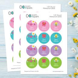 Spring Flowers Waterproof Labels for Kids