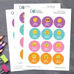 Girl Emojis Waterproof Labels for Kids (Set of 48)