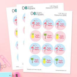 Sweet Flamingo Waterproof Labels for Kids (Set of 48)