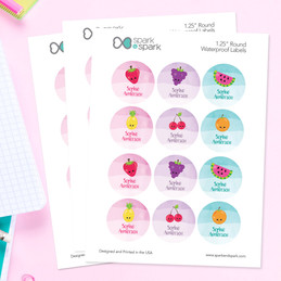 Yummy Fruits Waterproof Labels for Kids (Set of 48)