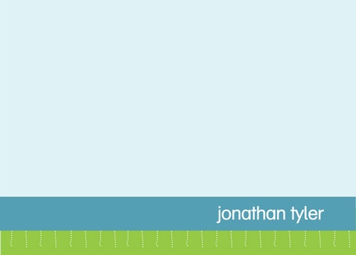 Browse Note Cards With Name | Blue And Green Borders
