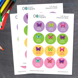 Bright Butterflies Waterproof Labels for Kids (Set of 48)