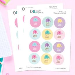 Sweet Elephants Waterproof Labels for Kids (Set of 48)