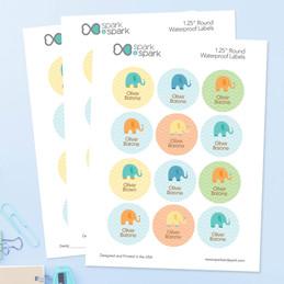 Sweet Blue Elephant Waterproof Labels for Kids (Set of 48)