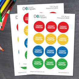 Red and Yellow Chevron Waterproof Labels for Kids (Set of 48)