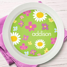Field of Flowers Green Kids Bowl