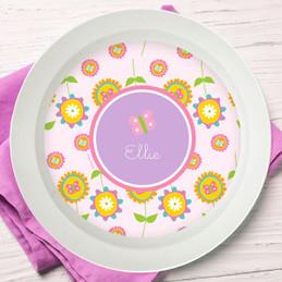 Pink Flowers Pattern Kids Bowl