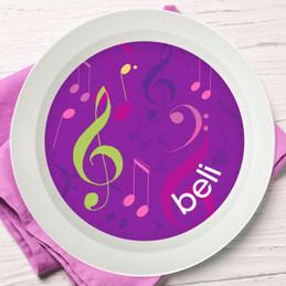 Girly Music Notes Kids Bowl
