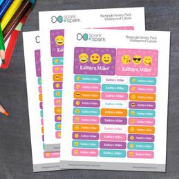 Girl Emojis Labels Rectangular Pack (Set of 128)