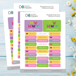 Bright Butterflies Labels Rectangular Pack (Set of 128)