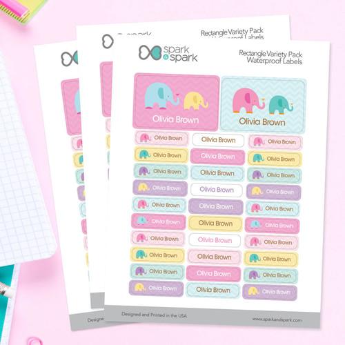 Sweet Elephants Labels Rectangular Pack