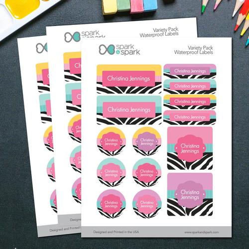 Colorful Zebra Waterproof Labels Variety Pack